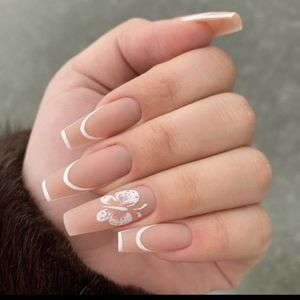 Long white and nude press on nails